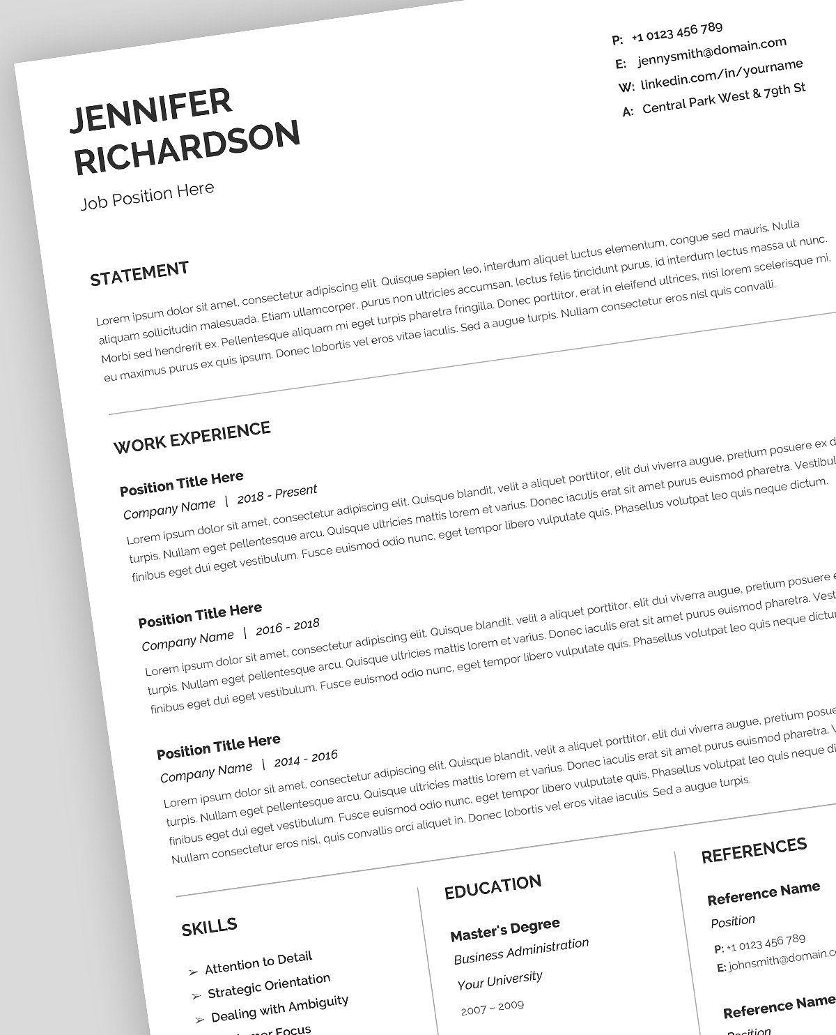 Resume Template, CV, Google Docs editOSsimpleresume
