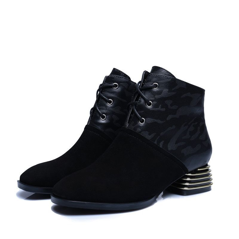 Boots - Black Fashion Camo square toe and lace up ankle boots