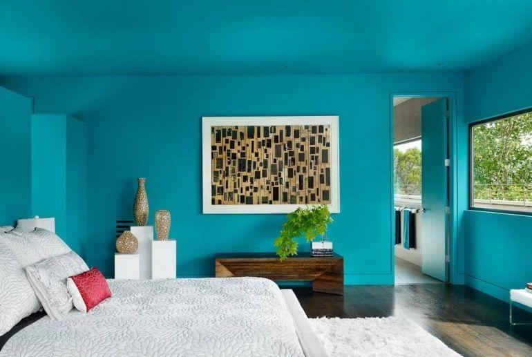 Schlafzimmer Türkis: Schlafzimmer Mit Blauer Wandfarbe, Nuance Türkis