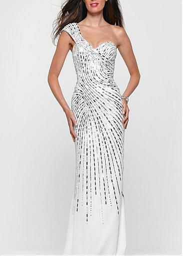 Stunning Chiffon Sheah One Shoulder Sweetheart Neckline Beaded Long White #Dressilyme Dress With Train