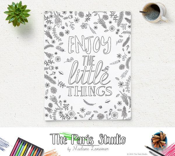 Printable Coloring Page Enjoy The Little Things Instant Download