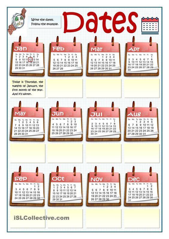 WRITING DATES | Language teaching | Pinterest
