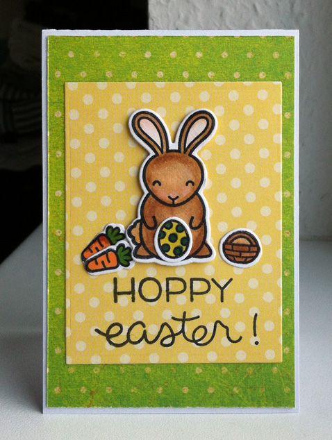 Card critters bunny bunnies basket carrot egg Lawn Fawn Hoppy Easter stamp set, Echo Park Spring paper collection - Karte Ostern Hasen - kort påske hare æg gulerod kurv - JKE
