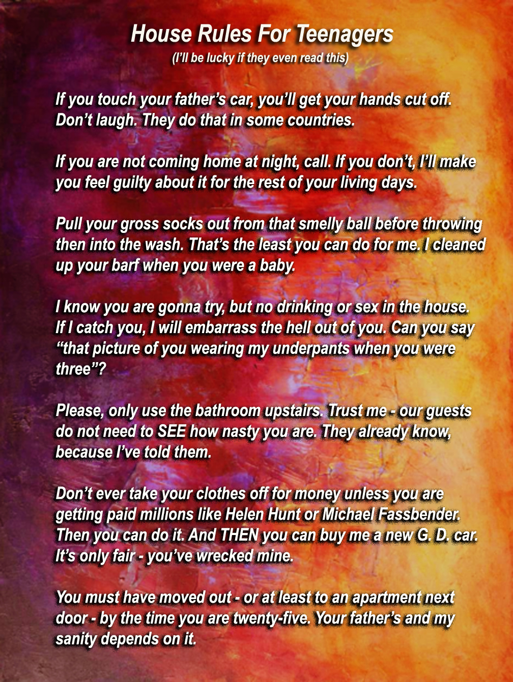 my list of  u0026quot house rules u0026quot  for my three teenagers  young adults