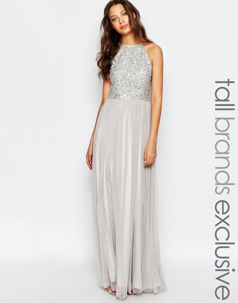 Maya ASOS Tall High Neck Sequin Tulle Maxi Dress UK 16 EU 44