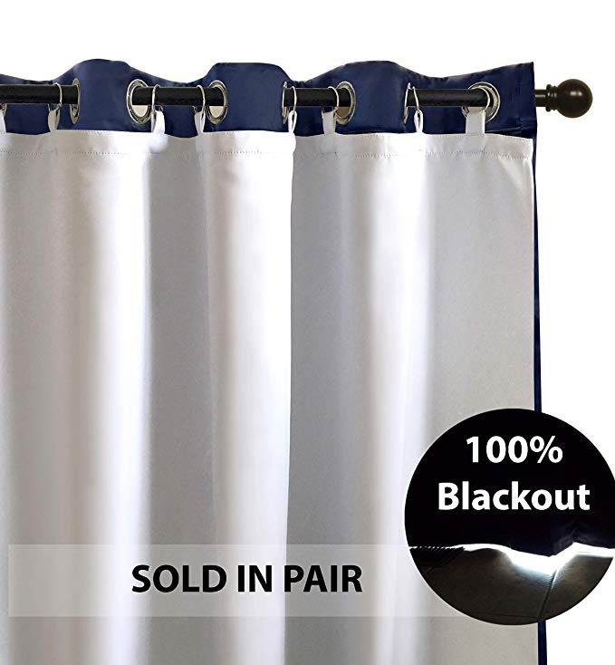 Amazon Com Driftaway Thermal Insulated 100 Darkening Blackout Curtain Liner For 96 Inch Grommet Curtains Blackout Curtains White Paneling Grommet Curtains