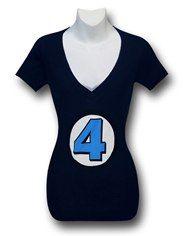 Fantastic Four V-Neck Juniors 30 Single T-Shirt