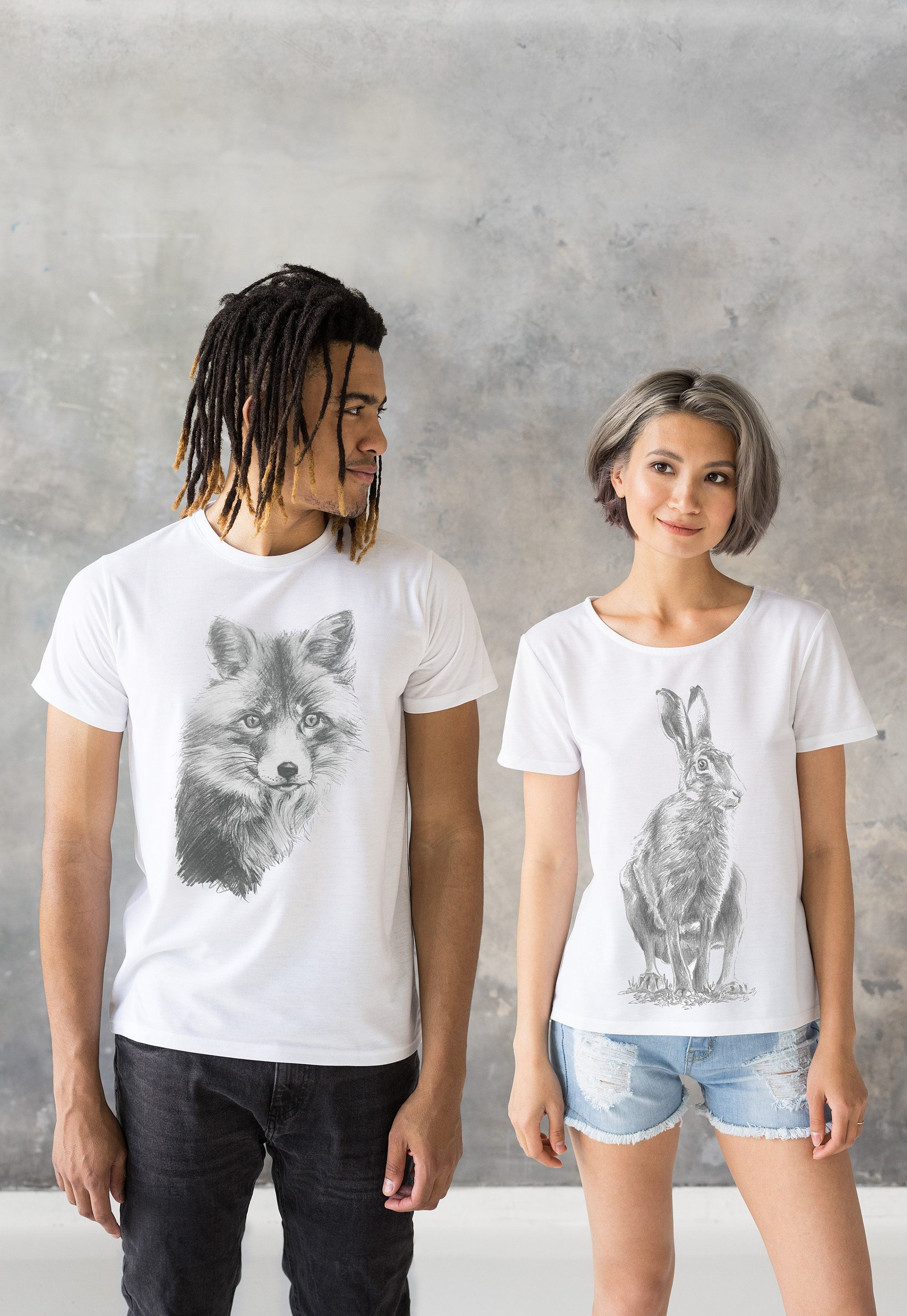 Matching couple t shirts artist pencil sketch drawing hare