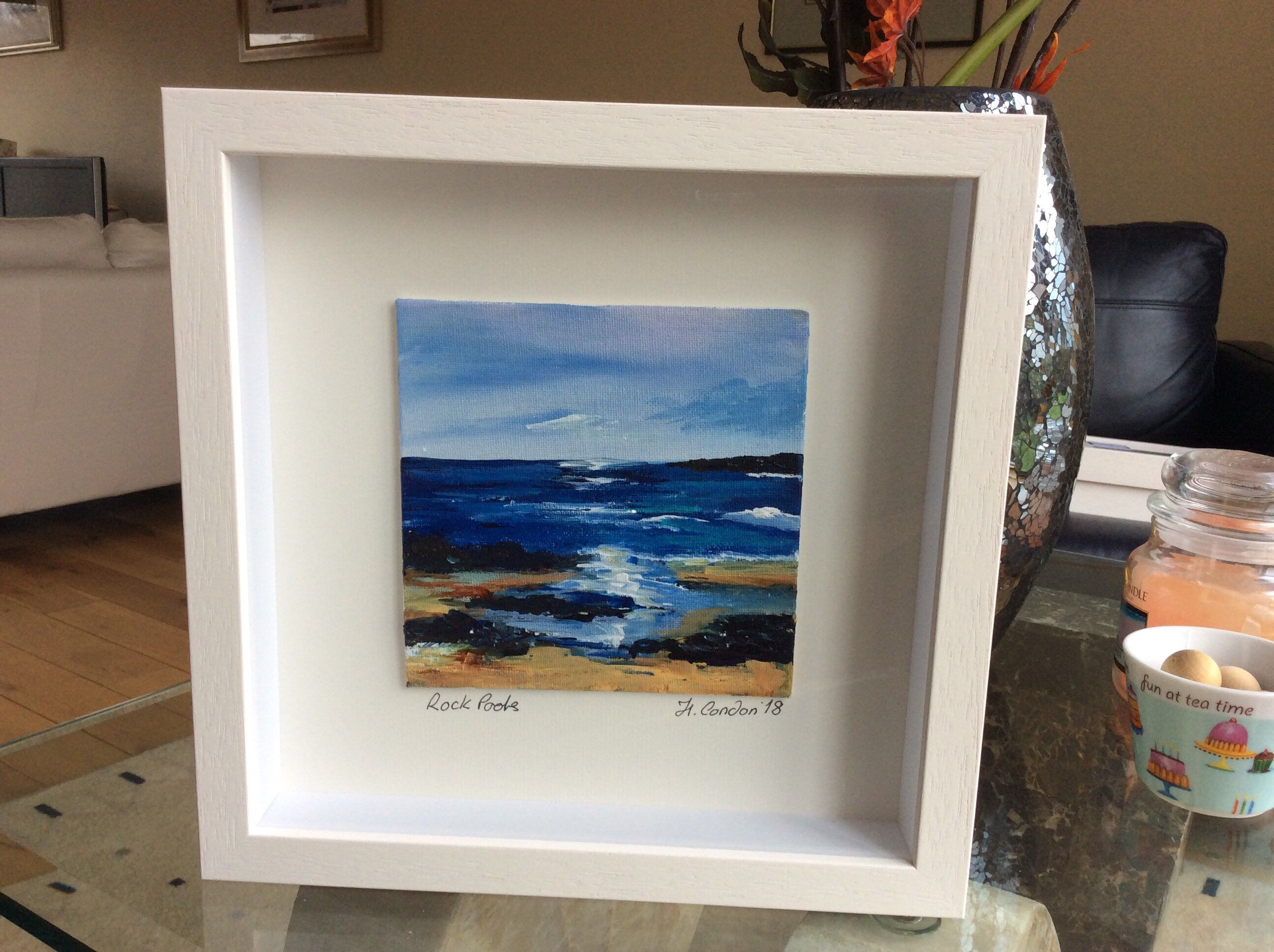 Rock Pools, Original Acrylic Painting on Canvas Board framed 28.5x28 ...