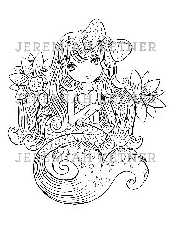 Cute Mermaid Jeremiah Ketner Coloring Page Instant Download Malvorlage Einhorn Malvorlagen Ausmalen