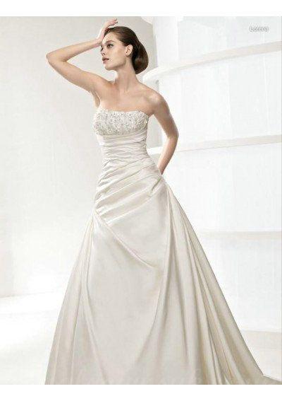 Strapless Beading Satin A Line Ruffles Slinky Wedding Dress