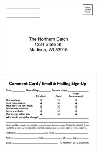 from your patrons with two sided comment cards these cards collect - customer comment card template