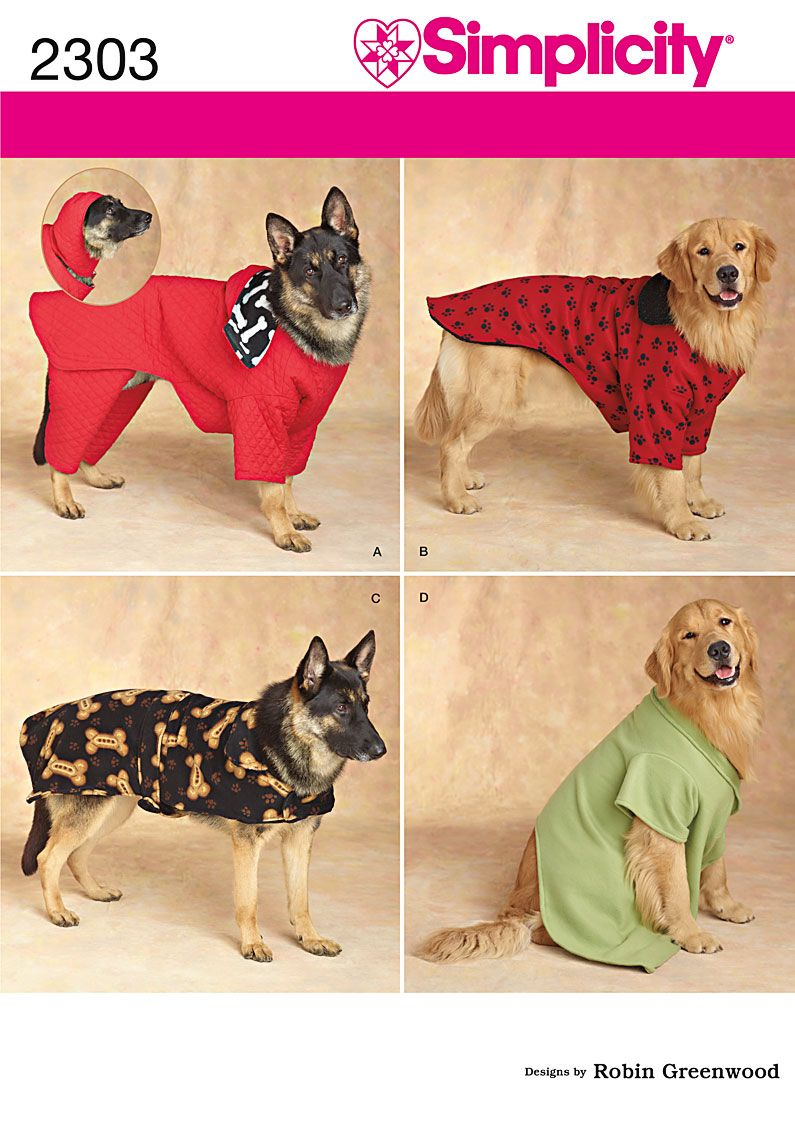 Extra large sized dog coats. Sewing Pattern 2303 Simplicity | dog ...