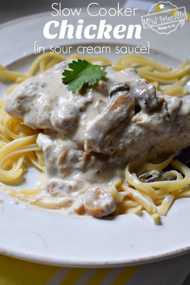 Crockpot Chicken In Sour Cream Sauce Recipe Kid Friendly Things To Do Recipe In 2020 Cream Chicken Recipes Recipe Using Cream Of Mushroom Soup Chicken Mushroom Soup Recipe