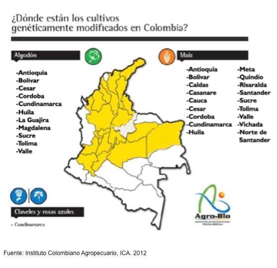 Zonas De Cultivo DeTransgenicos En Colombia