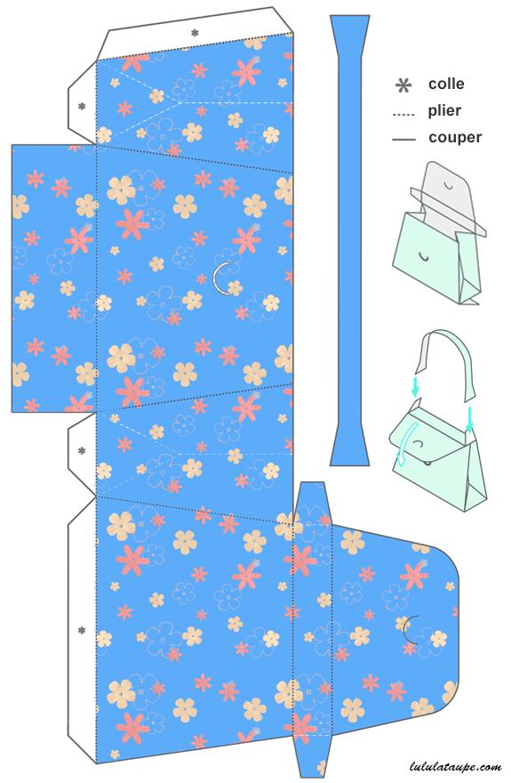 Mod le de sac main imprimer et d couper sur papier cartonn diy sac en papier sac - Modele de coeur a decouper ...