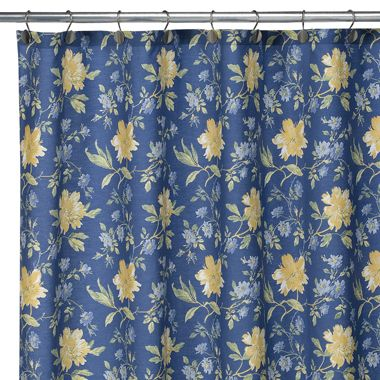 Laura Ashley Emilie Blue Yellow Floral Shower Curtain