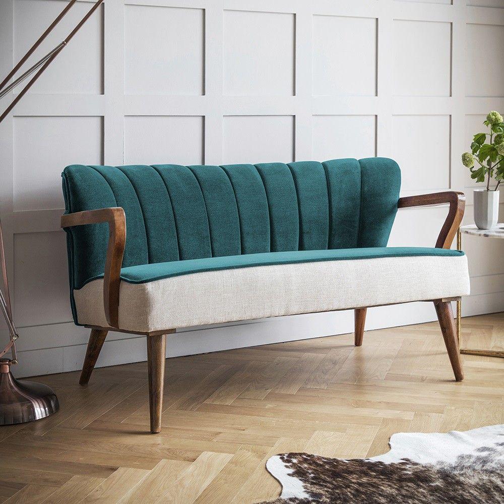 Dreipunkt Designer Leather Sofa Mustard Yellow Two Seat: Tallulah 2 Seater Sofa In Dark Teal Velvet And Linen