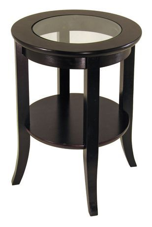 Winsome 92218 Genoa End Table Dark Brown Glass Top End Tables End Tables Glass End Tables