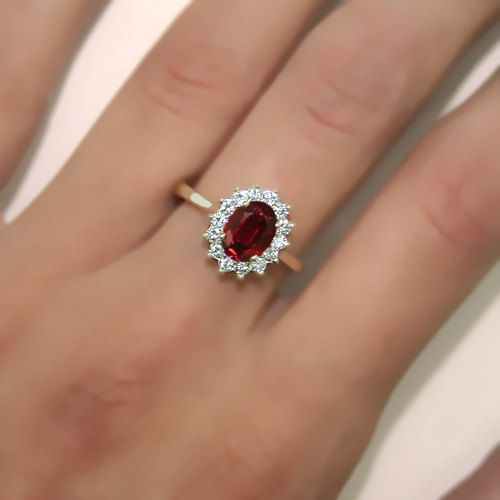 2 00 Carats Oval Ruby Princess Diana Engamenet Ring By