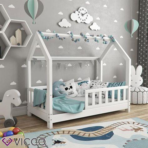 Photo of VitaliSpa Hausbett WIKI 70x140cm Zaun Weiß Kinderbett Kinderhaus Kinder Bett Holz