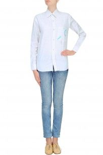 White Unisex Jigsaw Button Down Shirt #clothes #olio #designer #shopnow #happyshopping