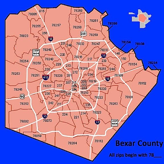 Bexar-County-Zip-Code-Map | Zip code map, Map, Coding