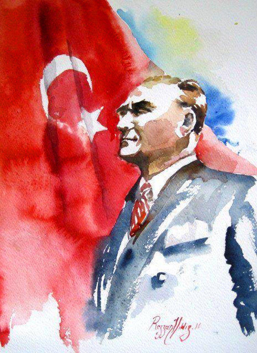 Sulu Boya Ile Cizilmis 15 Muhtesem Ataturk Portresi Poertre Resimleri Sulu Boya Resim