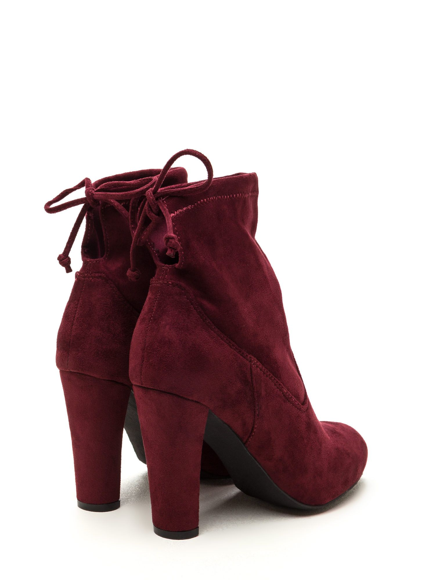 1e74bbb25ac Key To Success Faux Suede Chunky Booties BURGUNDY Suede Booties