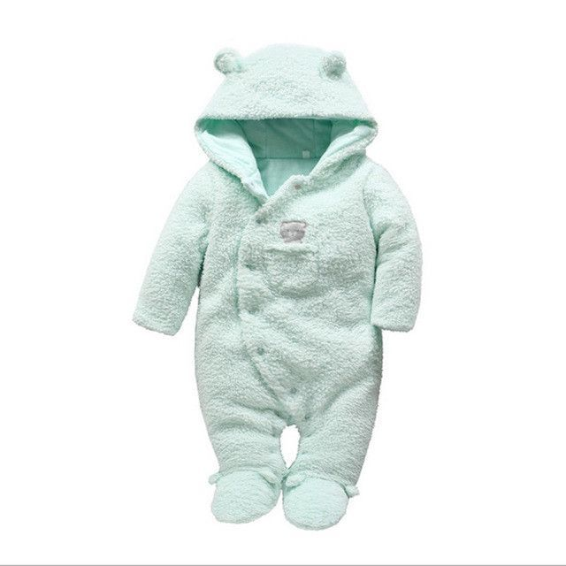3f6d0129e206 Tender Babies Newborn baby clothes bear onesie baby girl boy rompers hooded  plush jumpsuit winter overalls for kids