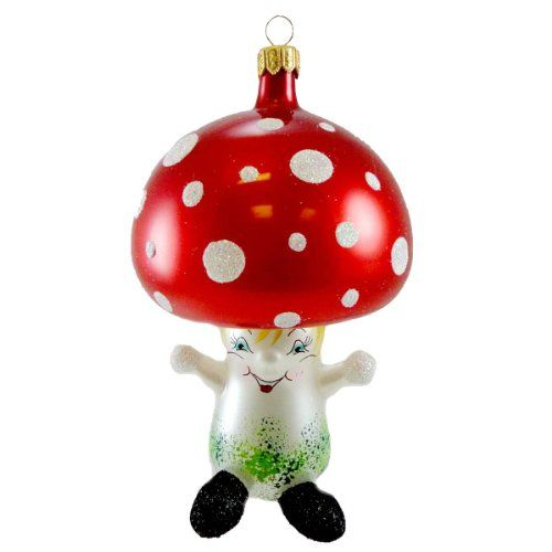de carlini mushroom mouth blown glass italian christmas ornament - Italian Christmas Ornaments