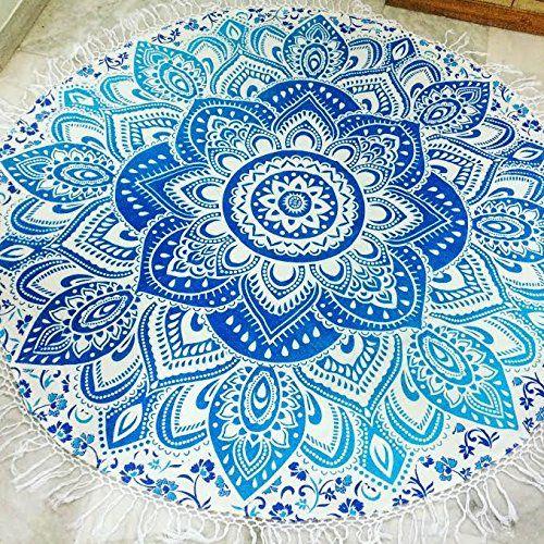 mandala rond serviette de plage avec franges de plage roundie tapis de yoga table chiffon mur. Black Bedroom Furniture Sets. Home Design Ideas