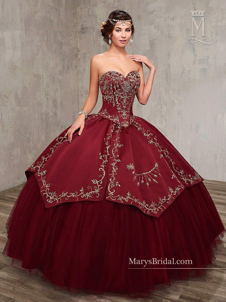 Embroidered Satin Quinceanera Dress by Mary's Bridal ...