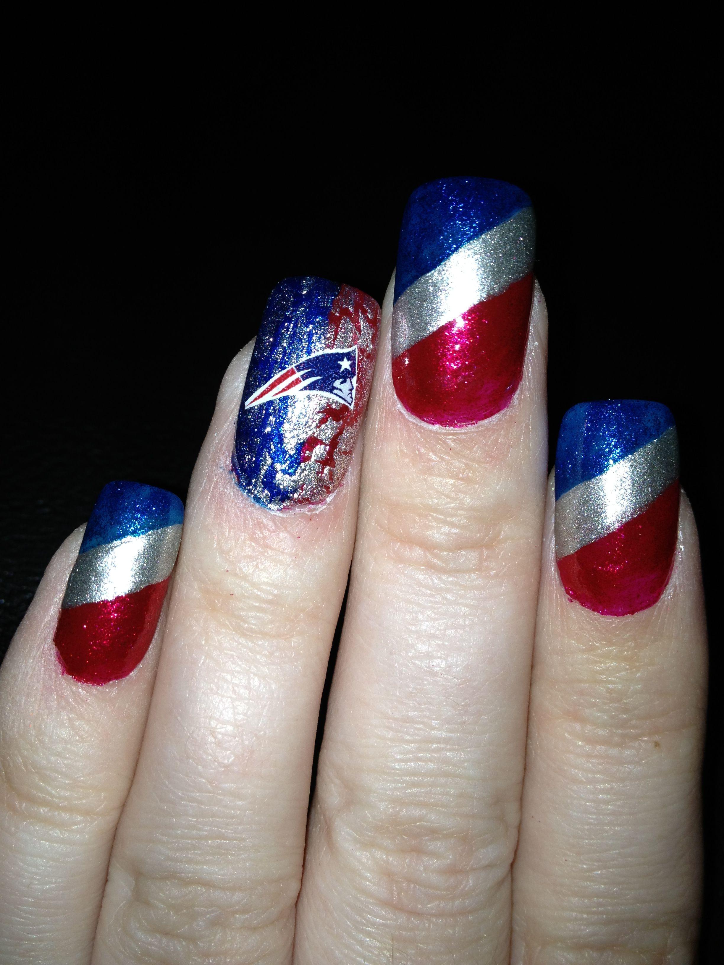 New England Patriots Nails Funky Nail Art Nail Art