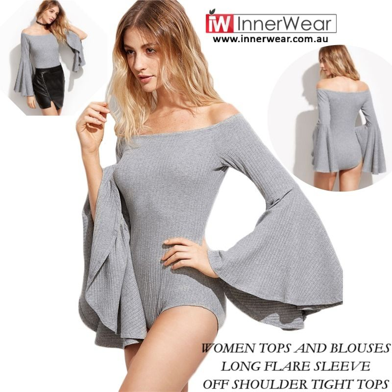 820738eec5da0c Women #Tops And #Blouses Long Flare #Sleeve Off Shoulder Tight #Tops Fall  Ladies #Sexy Women #Bodysuit #innerwear