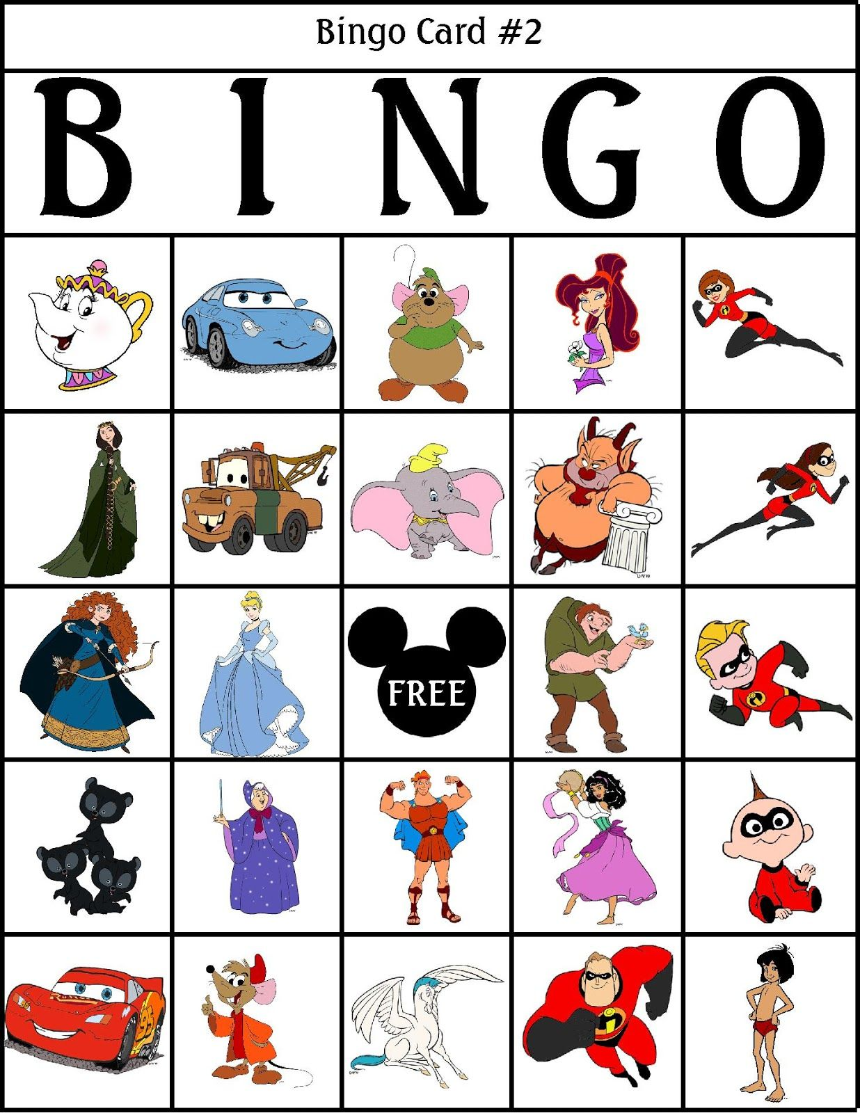 Bingo Games For The Disney Fan Disney activities, Disney