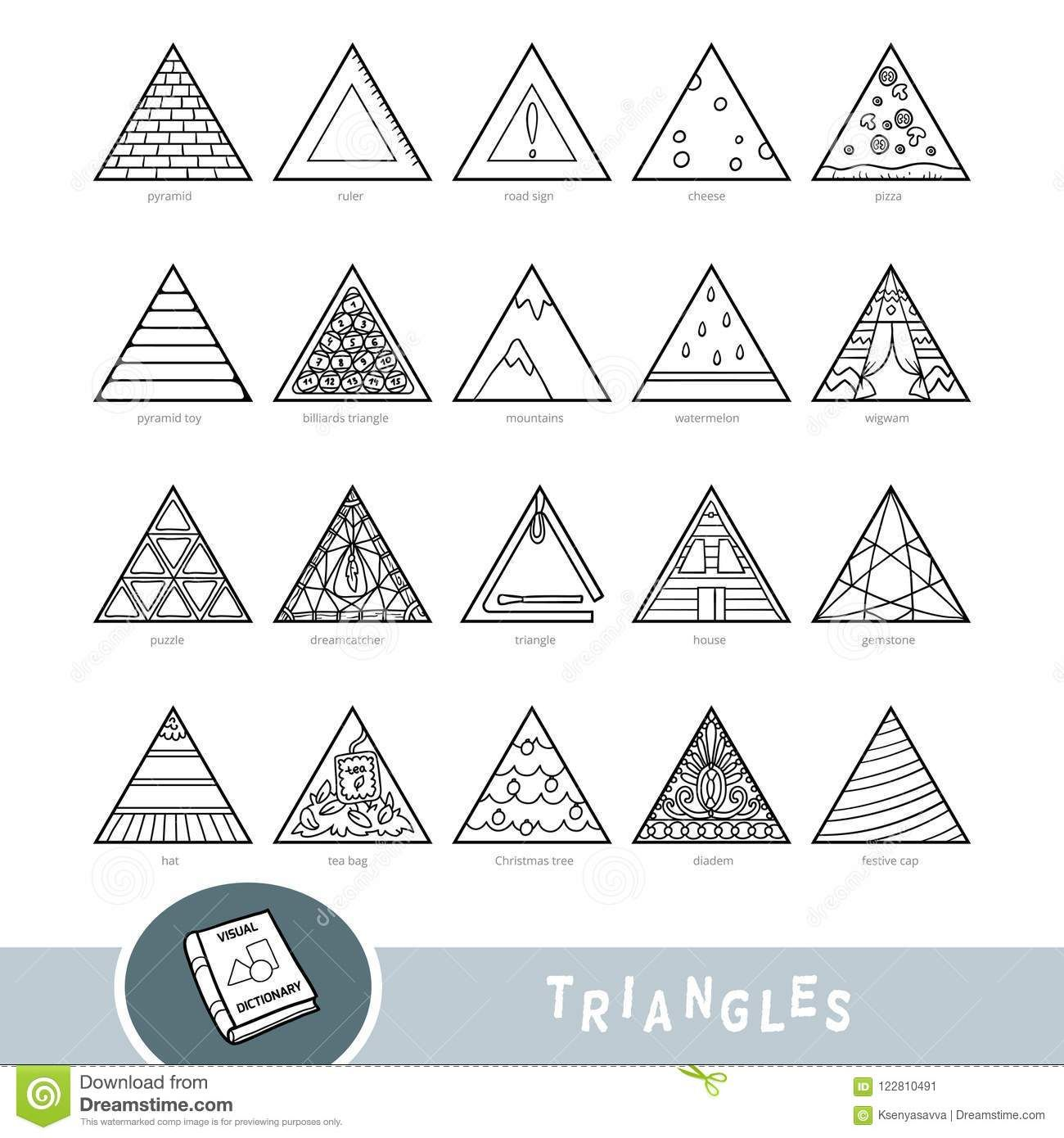Black And White Set Of Triangle Shape Objects Visual