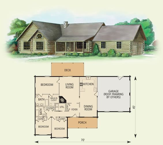 The Somerset Log Home Features A Modern Single Story Lifestyle For Those Looking To Live In A Ran Log Cabin Floor Plans Cabin Floor Plans Morton Building Homes