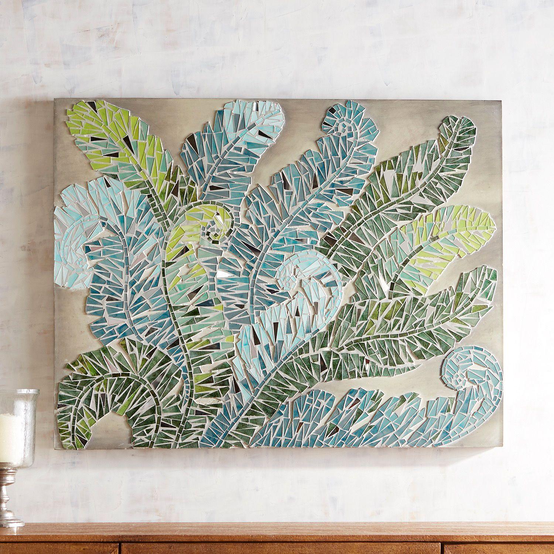 Swirly Ferns Mosaic Wall Panel With