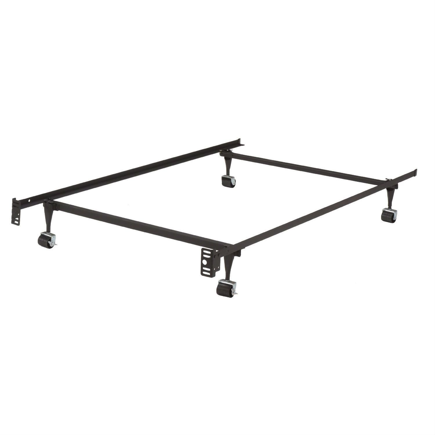 Twin Metal Bed Frame with Locking Rug Roller Wheels & Headboard Brackets