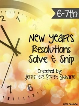 New Years Word Problems Solve and Snip- 6th and 7th