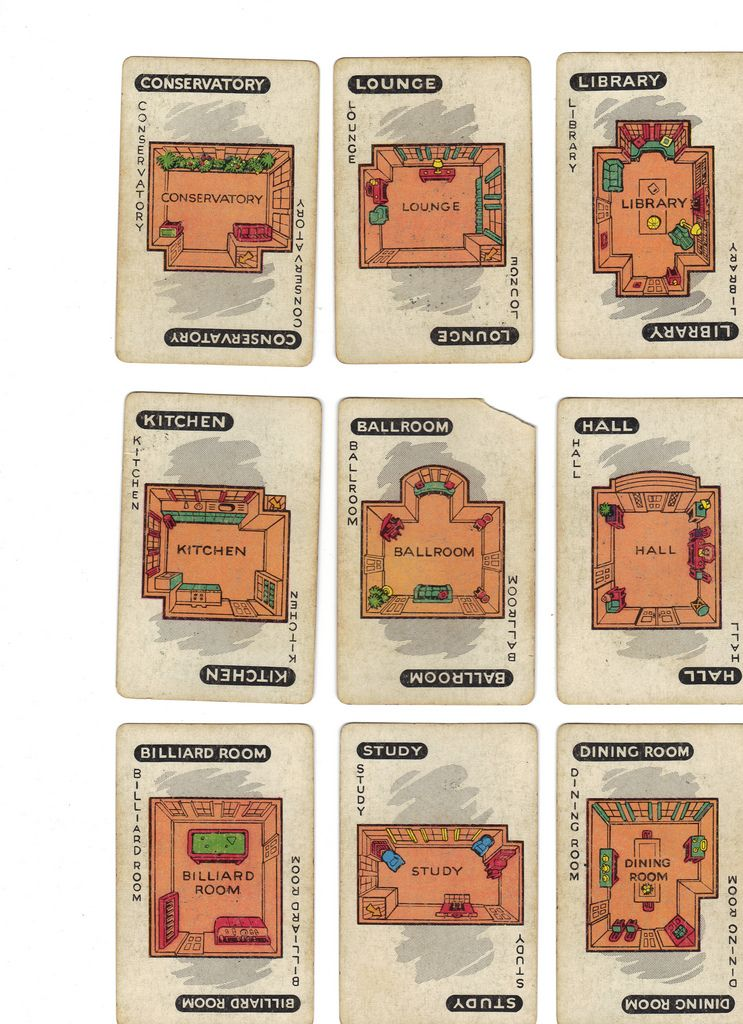 Vintage Clue Game Cards Rooms Clue Games Clue Board Game Card Games