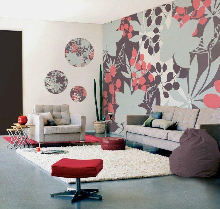 papel pintado pared flores colores Ideas de decoracion Pinterest