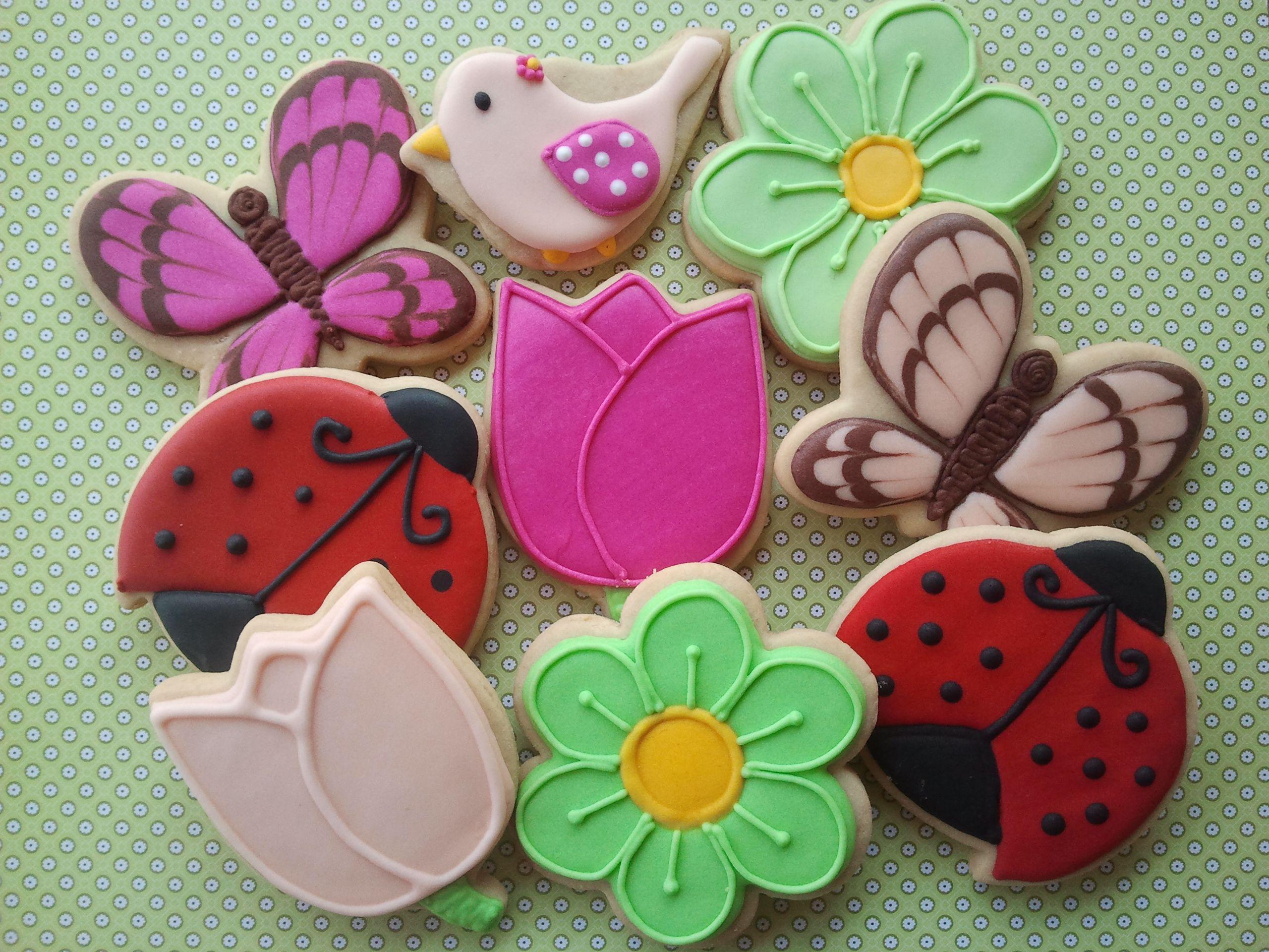 Primavera  Flores, P Ssaro, Borboleta, Joaninha  Cookies, Biscoitos