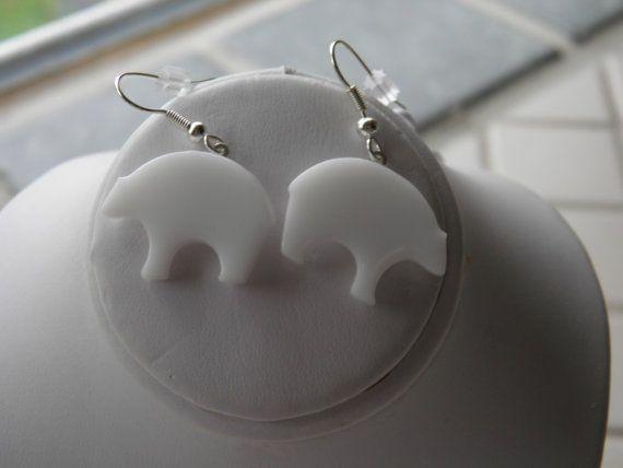 White Glass Polar Bear Earrings by SusanArendsee on Etsy, $19.99