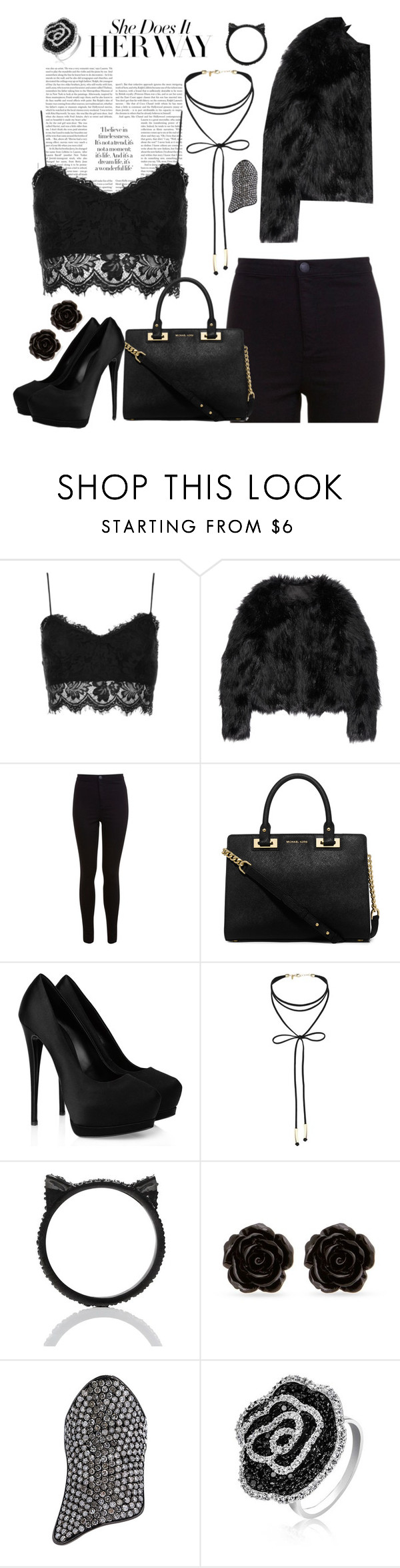 """""""Black is my happy color"""" by sorryiiovemgc ❤ liked on Polyvore featuring Topshop, Altuzarra, Miss Selfridge, MICHAEL Michael Kors, Giuseppe Zanotti, Kate Spade, Erica Lyons, Lynn Ban and Bling Jewelry"""