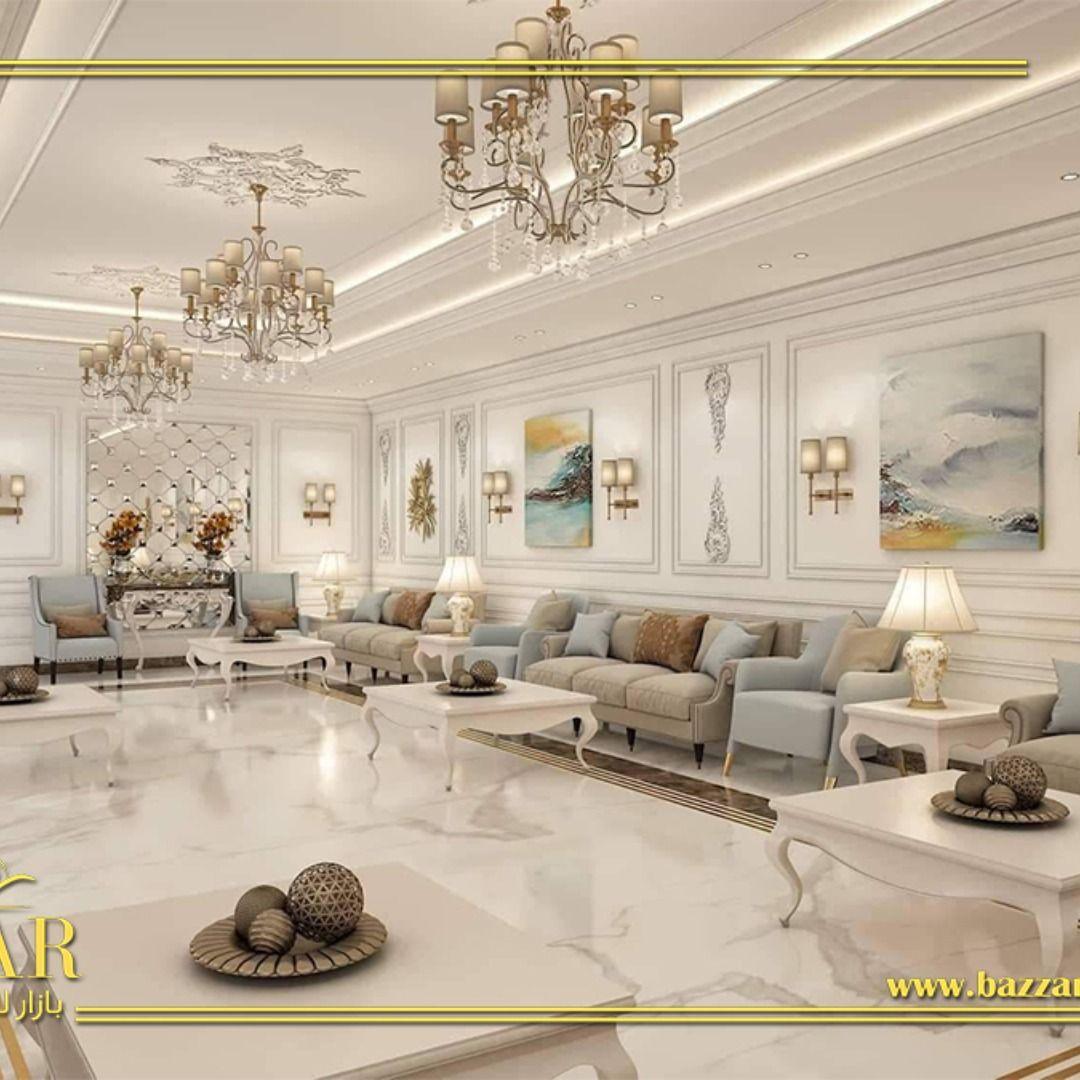 ديكور مجلس رجال نيوكلاسيك فخم ومميز اختار المصمم اللون الابيض لطلاء الجدران و تم تزيين الحوائط بال Living Room Decor Modern Dream Closet Design Luxury Interior