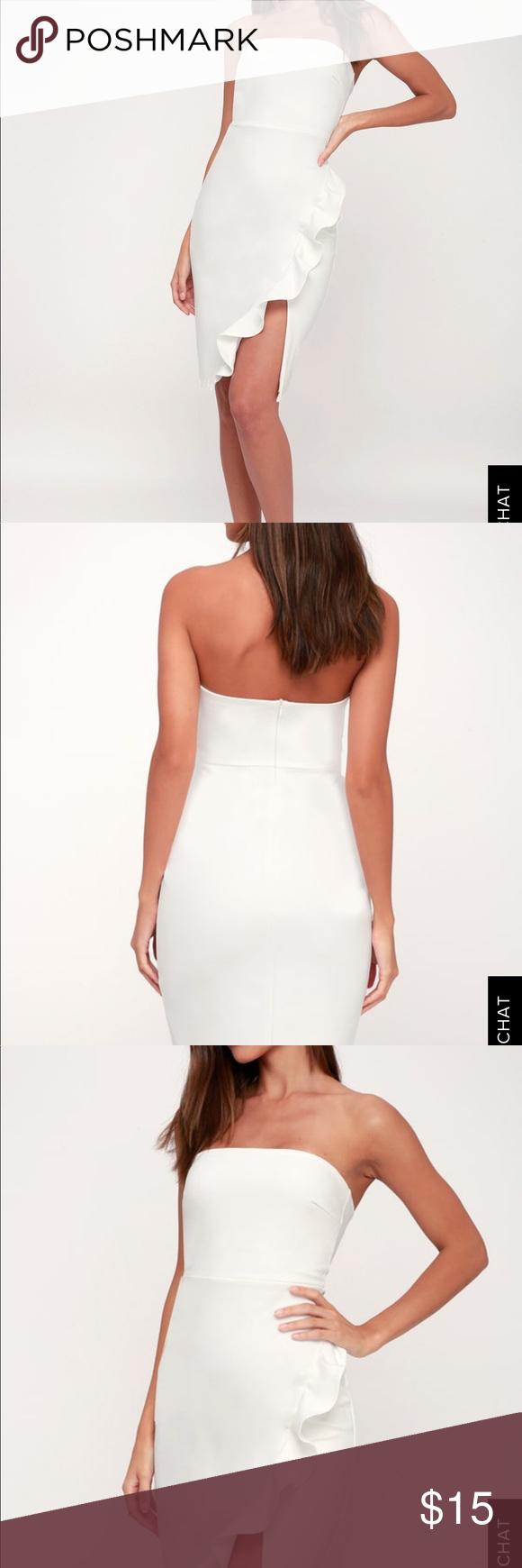 Lulu S Anika White Ruffle Strapless Dress Lulu S Anika White Strapless Ruffle Dress In Size Small Only Wor Strapless Ruffle Dress Strapless Dress Lulu Dresses [ 1740 x 580 Pixel ]
