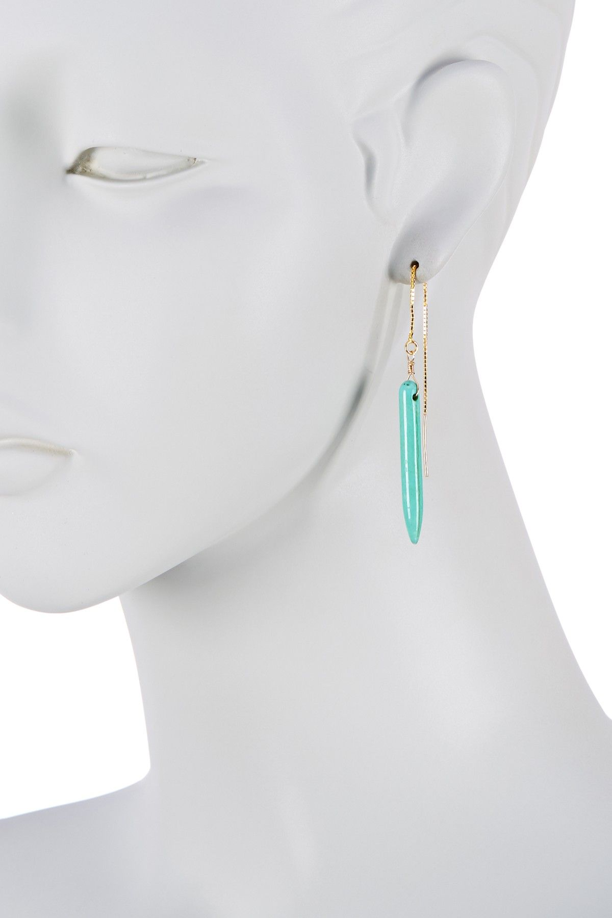 14K Gold Filled Mint Linear Thread Thru Earrings by Jami on @HauteLook