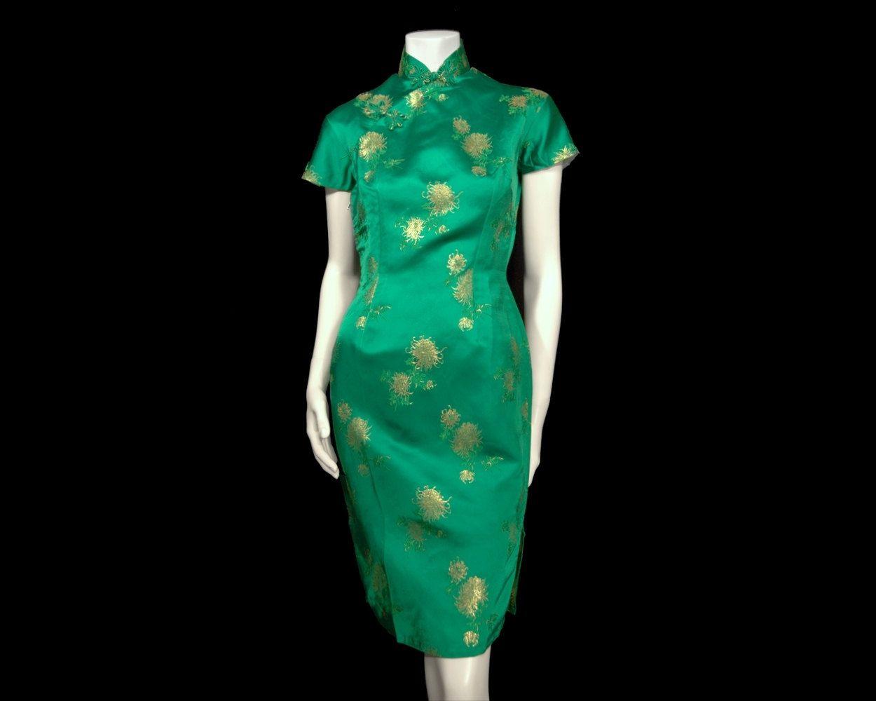 Vintage Emerald Green Qipao Cheongsam Dress sz S Gold Chrysanthemum ...